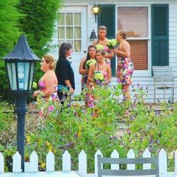 bridesmaids in b&b garden