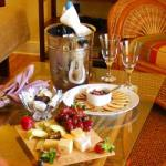 Bottle of Wine with Fruit & Cheese Platter