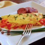 Three egg omelet with sausage