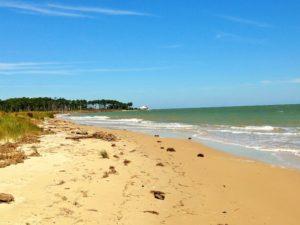 Walking down beautiful Bethel Beach