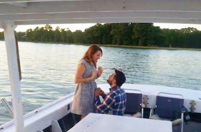 proposal on a boat