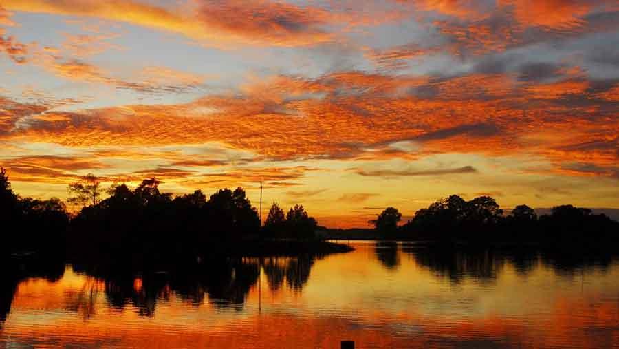 Sunset over Tabbs Creek in Mathews, Virginia