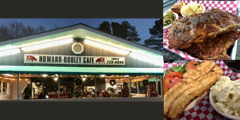 3 pictures, top picture is of front of diner style restaurant, bottom 2 are of food, one is a rack of ribs and the other is a fried fish sandwich