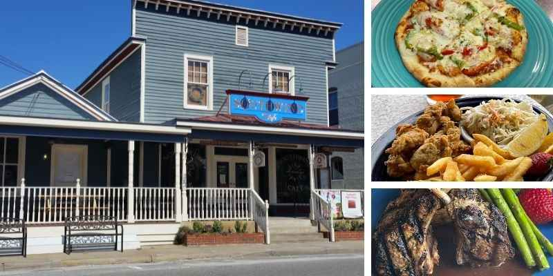 Photo of Southwinds Restaurant Street view, with smaller pictures on the side of pizza, oysters and fries, and lamb chops